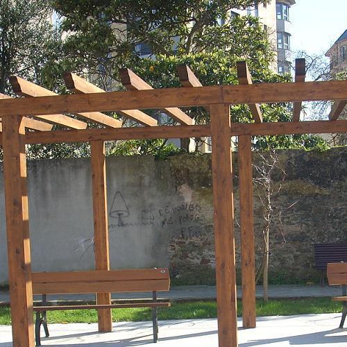 P rgola de madera laminada de pino timbergal - Postes para pergolas ...