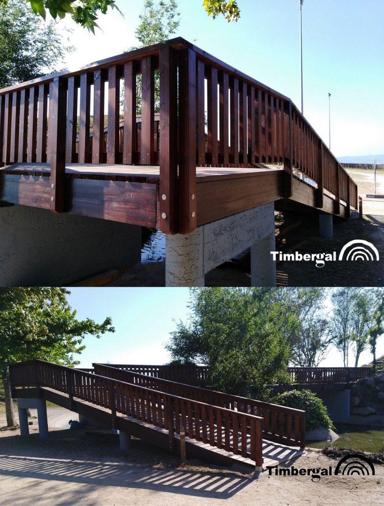 Recuperación del puente del parque forestal «Monte dos Pozos», en Vigo, tras los incendios del año 2017.